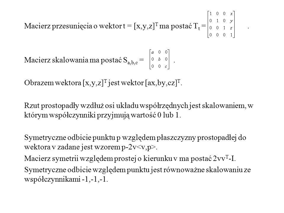 Macierz przesunięcia o wektor t = [x,y,z]T ma postać Tt =